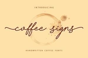 Coffee Signs Font (FREE), Font Monoline Kasual Bertemakan Kopi