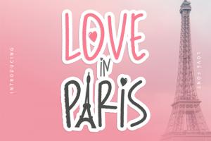 Love in Paris Font (FREE), Font Script Bertemakan Cinta